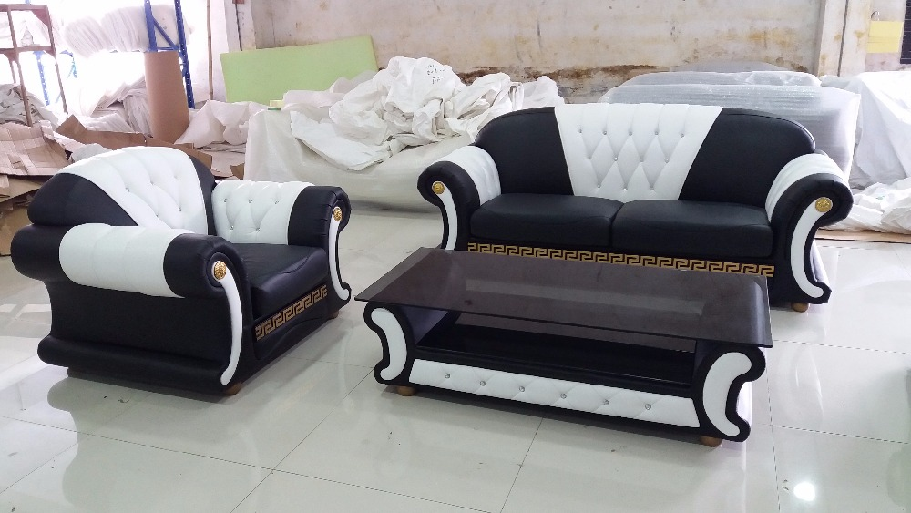 FREE SHIPPING TO WASHINTON DC Armchair Design Home Furniture Modern Genuine Leather Sofa with table in Living Room Sofas from Furniture