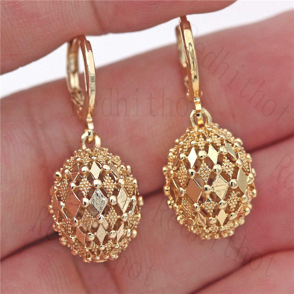 Fashion Earrings for Women Gold Plating Disco Ball Flash Drop Earring Round Rock Punk Earrings Trendy Jewelry for Party Club(China)