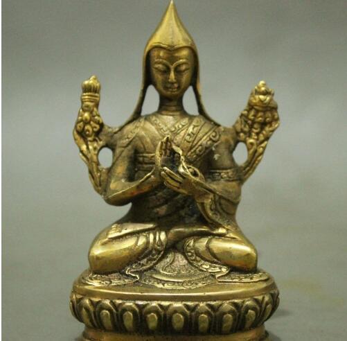 Tibetan Buddhist handmade brass statue Tsongkhapa Buddha