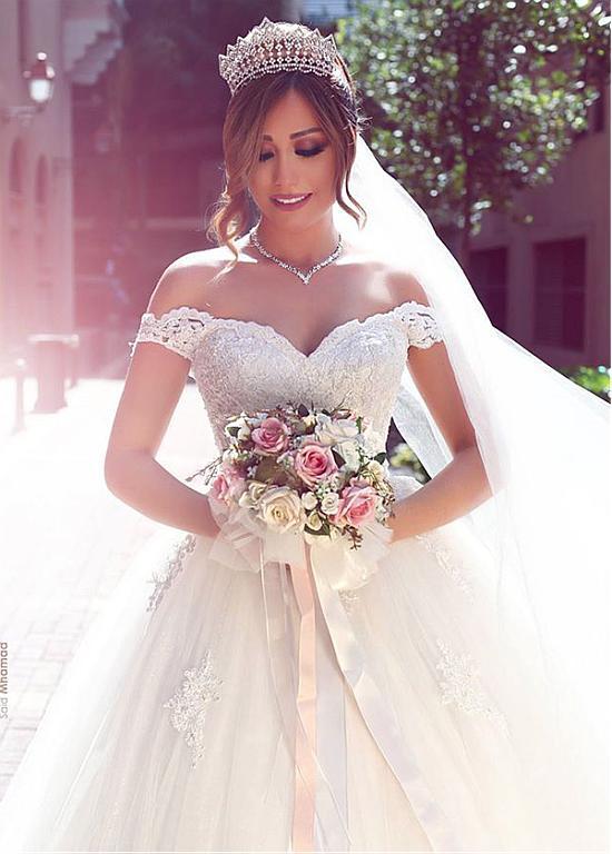 Off The Shoulder Vestido De Noiva 2019 Muslim Wedding Dresses Ball Gown Tulle Appliques Boho Dubai Arabic Wedding Gown Bridal