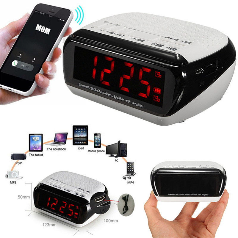 Smart Wireless Bluetooth Music Player Stereo Speaker LED Dual Alarm Clock With Digital D ...