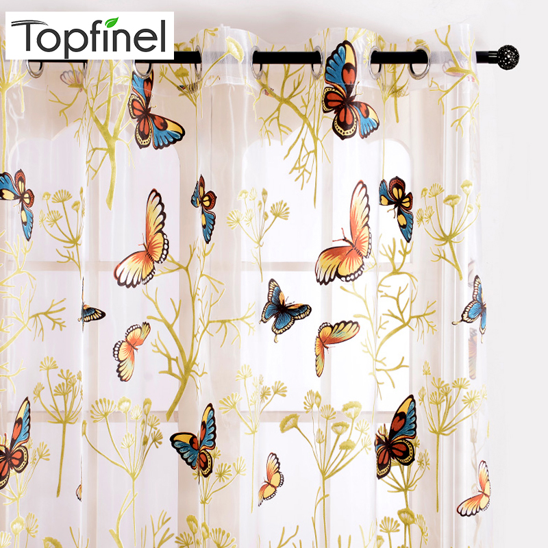 Topfinel Beautiful Printed Butterfly Sheer Curtains Tulles Window For Living Room Bedroom Kitchen Girls Room Voile Curtains