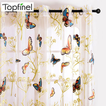 Topfinel Beautiful Printed Butterfly Sheer Curtains Tulles Window for Living Room Bedroom Kitchen Girls Room Voile Curtains princess style 100% cotton curtains elegant white lace curtains sheer tulles for girl s room window door sheet screen home decor