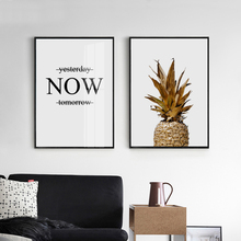 ZeroC Gold Pineapple Canvas Art Print Poster, Nordic Quote Wall Paintings for Living Room Decoration Art Picture Home Decor zeroc japanese ink canvas art print poster zen wall paintings for living room decoration home decor