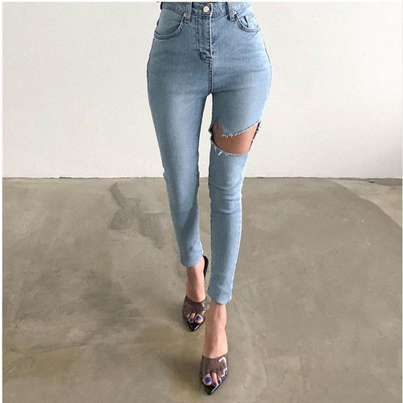 The 2019 Korean Version Of The New 2 Color Ripped Jeans High Waist Show Thin Tight Height Stretch Small Leg Pants