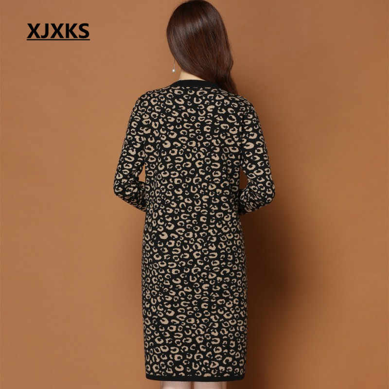 b56ee62f3c9 ... XJXKS vestidos autumn and winter clothes leopard design soft plus size  fashion new sale women sweater ...