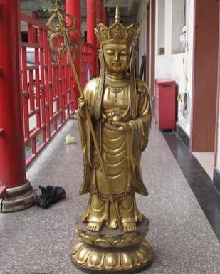 bi002351 43Chinese Tibet Buddhism Fane Copper Bronze Jizo Kshitigarbha Buddha Statuebi002351 43Chinese Tibet Buddhism Fane Copper Bronze Jizo Kshitigarbha Buddha Statue