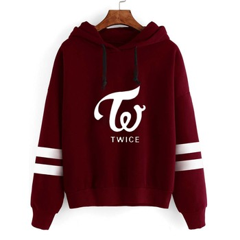 Harajuku Fashion Striped Tops TWICE Hoodies Sweatshirts Long Sleeve Casual Hooded Pullovers High Quality Kpop Clothes