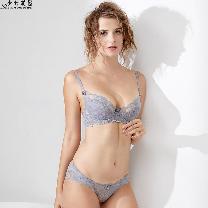 Shaonvmeiwu Autumn new French little sexy lace underwear   bra     set   translucent   bra   thin section