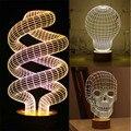 Novelty Optical Illusion 3D Wood Mood Lamp Micro USB Table Glowing Light