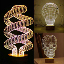Novelty Optical Illusion 3D Wood Mood Lamp Micro USB Table Glowing Light