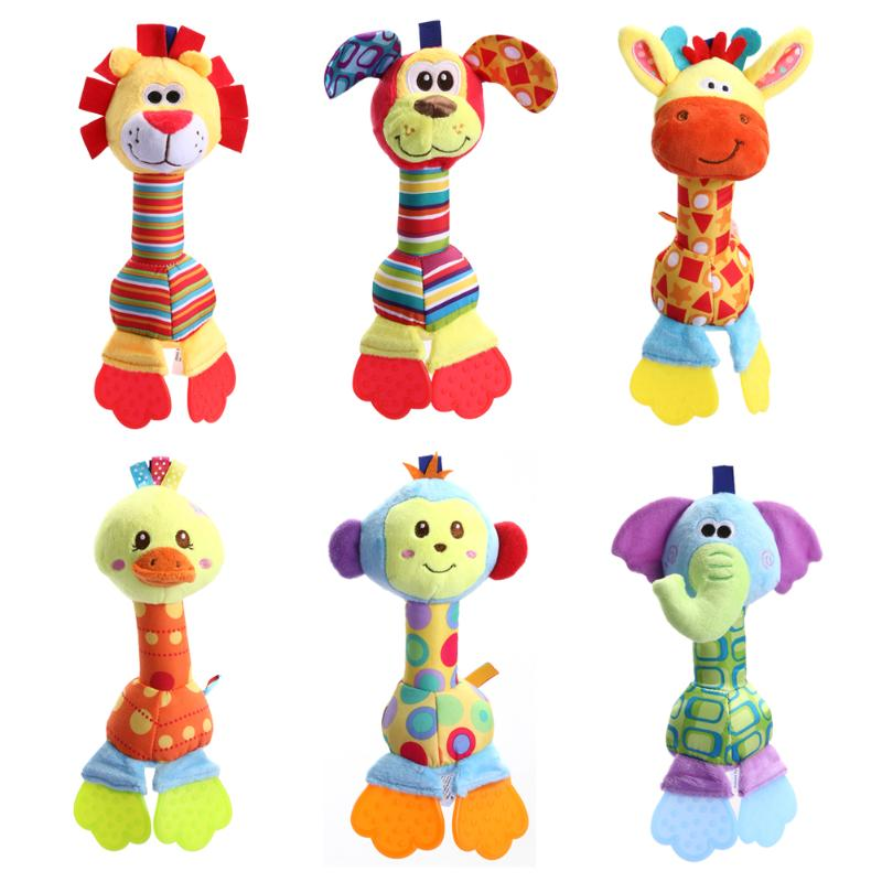 Infant Animal Handbell Baby Rattles Plush Stuffed Toy Children Mobiles Sounding Educational Stuffed Toy Playmate Teether Doll
