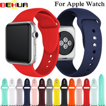 Banda deportiva de silicona suave colorida para Apple Smart Watch 38mm 42mm 40mm 44mm correa de reloj para watch serie 1, 2, 3, 4 pulsera(China)