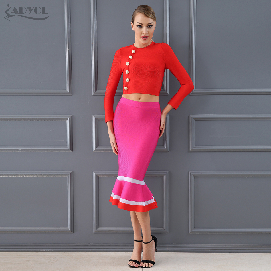 Adyce 2019 Chic Fashion Club Bandage Crop Tops & Mermaid Skirt 2 Two Pieces Set Night Out Celebrity Evening Party Dress Sets