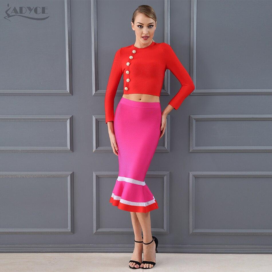 Kadın Giyim'ten Kadın Setleri'de Adyce 2019 Şık Moda Kulübü Bandaj Kırpma Üstleri ve Mermaid Etek 2 İki Adet Set Gece Ünlü Akşam Parti elbise Setleri'da  Grup 1
