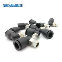 10Pcs/lot PLN M5 1/8 1/4 3/8 1/2 Plastic Pneumatic Parts Push In Coupling Air Male Elbow Fitting Quick Connect Sanmin