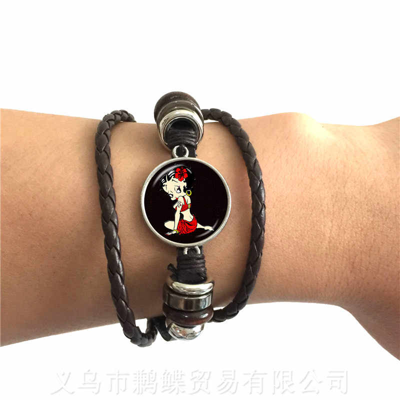 Trendy Betty Boop 20mm Glass Dome Bracelet Women Girls Jewelry Cute Betty Boop Adjustable Leather Bracelet Accessories Xmas Gift