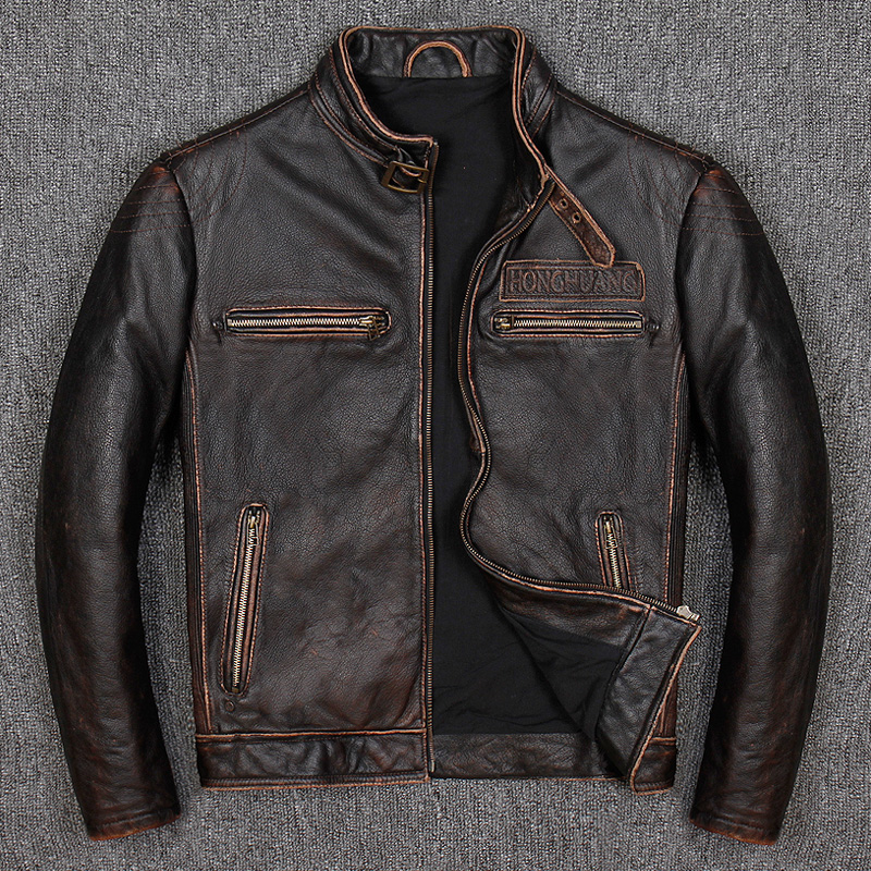 Vintage Genuine Leather Jacket Men Real 100% Real Cow Motorcycle Biker Pilot Baseball Casual Male Winter Warm Brown Leather Jack 3