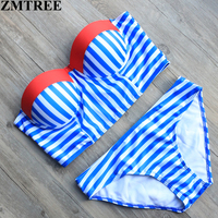 ZMTREE New Plaid Bikini Set 2017 Bandage Women Swimwear Sexy Summer Style Swimsuit Beach Bathing Suit