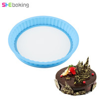 Shebaking 1pc Round Silicone Springform Pan With Glass Base 3D Baking Sugarcraft Fondant Cake Chocolate Muffin