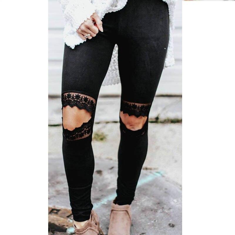 NORMOV Womens Summer Casual Leggings Fashion Skinny Lace High Waist Fitness Hole Elastic Force Leggings Workout Slim Leggings