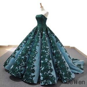 Image 3 - 高級ストラップレスグリーンイブニングドレス 2020 ロングレースウエディングフォーマルパーティードレスボールガウン abendkleider クリスマスドレス