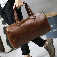 LAPOE Men Vintage Retro Leather Travel Bags Hand Luggage Overnight Bag Fashionable Designers Large Duffle Bags Weekend Bag