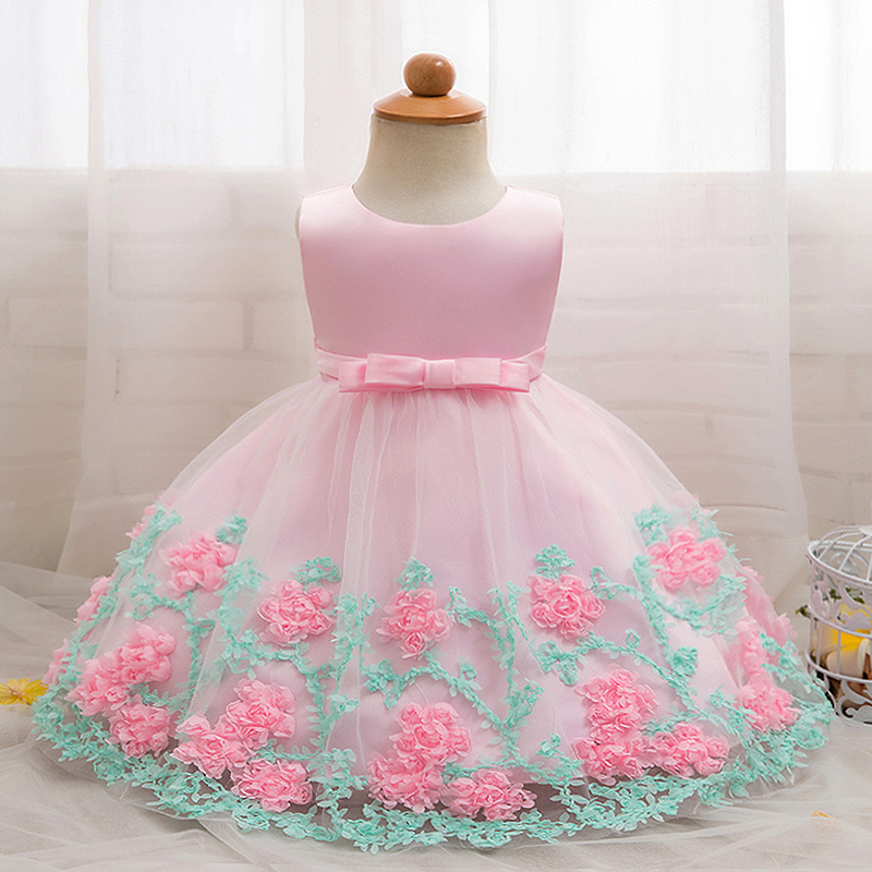 2018 Baby Girl Dress Little Bridesmaid Clothes Beautiful Flower Christening Gown Baby Baptism Birthday Party Outfits 1-2 Years