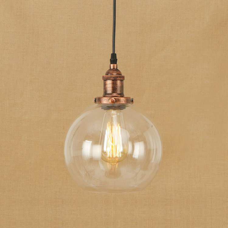 IWHD Style Loft Industrial Vintage Hanging Lamp LED Bedroom Glass Ball Pendant Light Fixtures Kitchen Retro Iron Lighting new loft vintage iron pendant light industrial lighting glass guard design bar cafe restaurant cage pendant lamp hanging lights