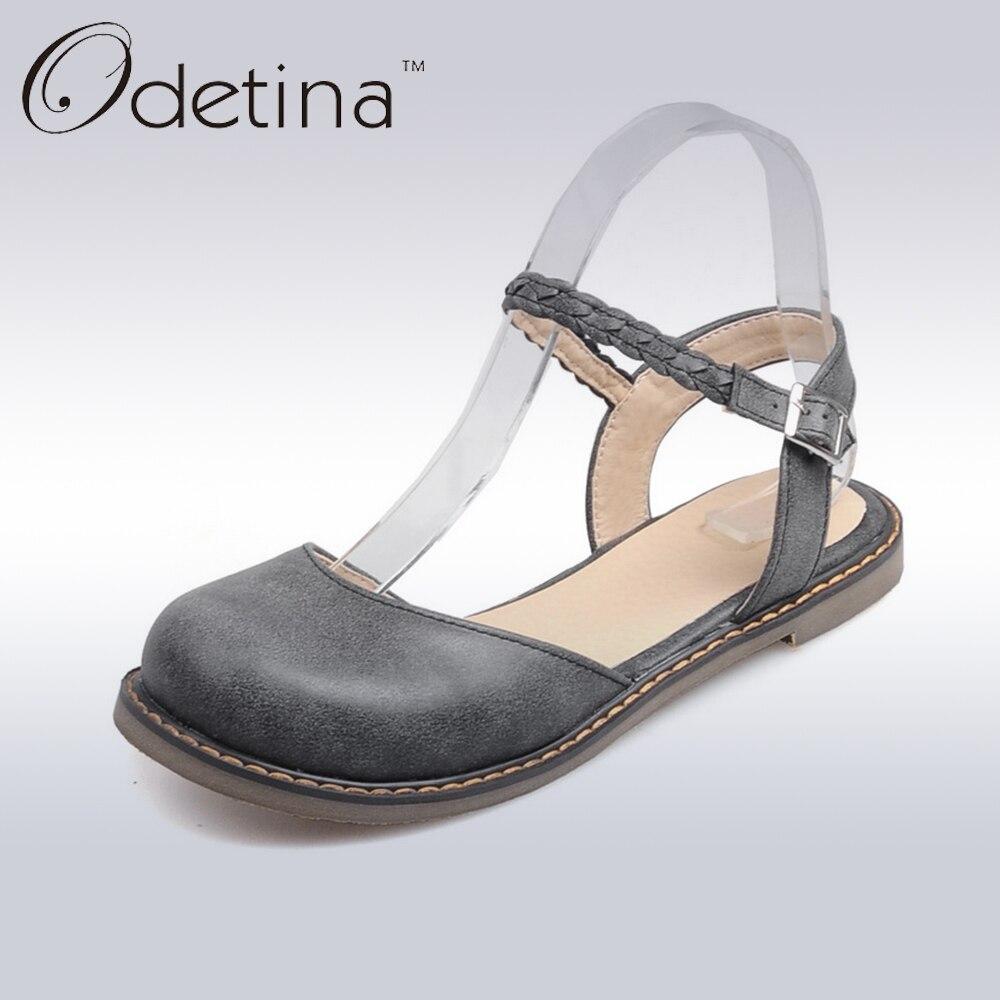 Odetina Nuevas Mujeres Hebilla de Correa de Mary Jane Zapatos Planos Dedo Del Pi