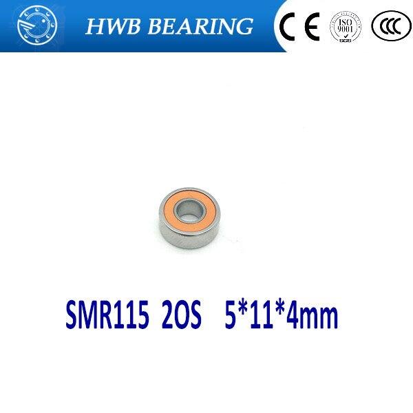 Free shipping COOL RED SEALS 5x11x4mm 1PCS SMR115 2OS CB  ABEC7 Stainless Steel Hybrid Ceramic Fishing Reel Bearings