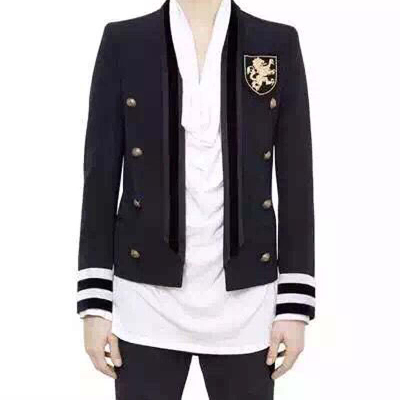FASHION 2017 PARIS Men's Runway Designer Jacket Double Breasted Buttons Badge Embroidery Blazer Jacket Outer Coat