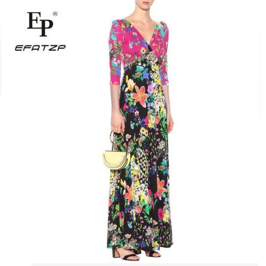 New Fahion 2018 Luxury Maxi Dress Women s V Neck elegant Colorful Geometry Print XXL Stretch