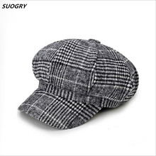 SUOGRY England Style Classic Berets Woolen Hats for Women Men Beret Octagonal Hat Fashion Caps