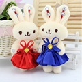 Wholesale 12PCS/lot PP cotton plush stuff rabbit doll toys women flower bouquet accessory phone charm rabbits for wedding gift