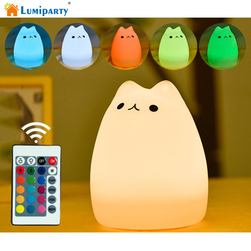 Lumiparty USB Charge Carton Night Light Silicone Remote Timer Cute Cat Lamp Tap Control Lamp For Kids Bedroom Nursery Baby