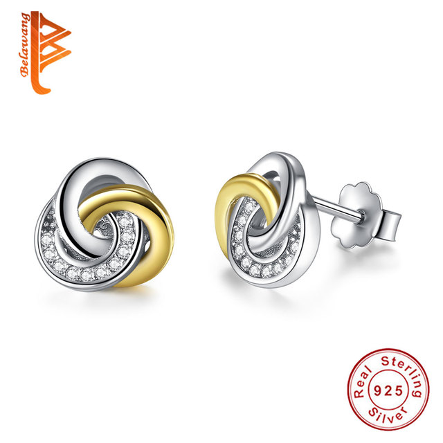 Fashion Real 925 Sterling Silver Jewelry Gold Small Stud Earrings For Woman Double Colors