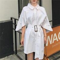 Fashion Office Dress Women 2017 Autumn Formal Work Asymmetrical Three Quarter Sleeve Shirt Dress White Yellow