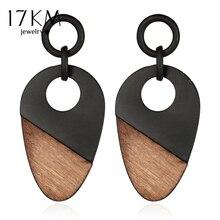 17KM New Fashion Geometry Wood Women's Earrings Long Chain Bohemian Handmade Drop Earring Gift Vintage Jewelry