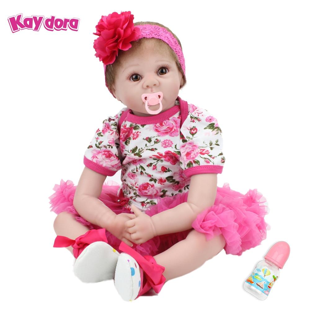 KAYDORA 22 inch 55cm Silicone Reborn Baby Doll Adorable Lifelike Toddler Cloth Body Handmade Boneca Kids Reborn Babies menina de 18 bebe reborn babies cotton body hiqh quality menina de silicone toddler arianna tatiana wig boneca silicone juguete brinquedo
