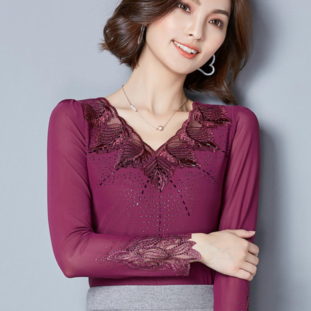 35cf20f45d438 2017 Autumn long sleeve V neck black mesh T-shirts women embroidery mesh  lace T-shirts women Gemstones embroidery mesh tops