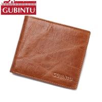 GUBINTU 100 Top Genuine Oil Wax Cowhide Leather Fashion Style Wallet For Men Male Luxury Brand