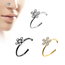 1PC Steel Small Thin Five Gem Sparkly Crystal Flower Charm Nose Silver Hoop Stud Rings For Women Fake Lip Piercings Jewelry 20G