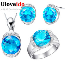 2016 Joya Rubi Oval Wedding Blue Saphire Ruby Rhinestone Silver Bridal Necklace Earrings Womens African Costume Jewelry Set T088