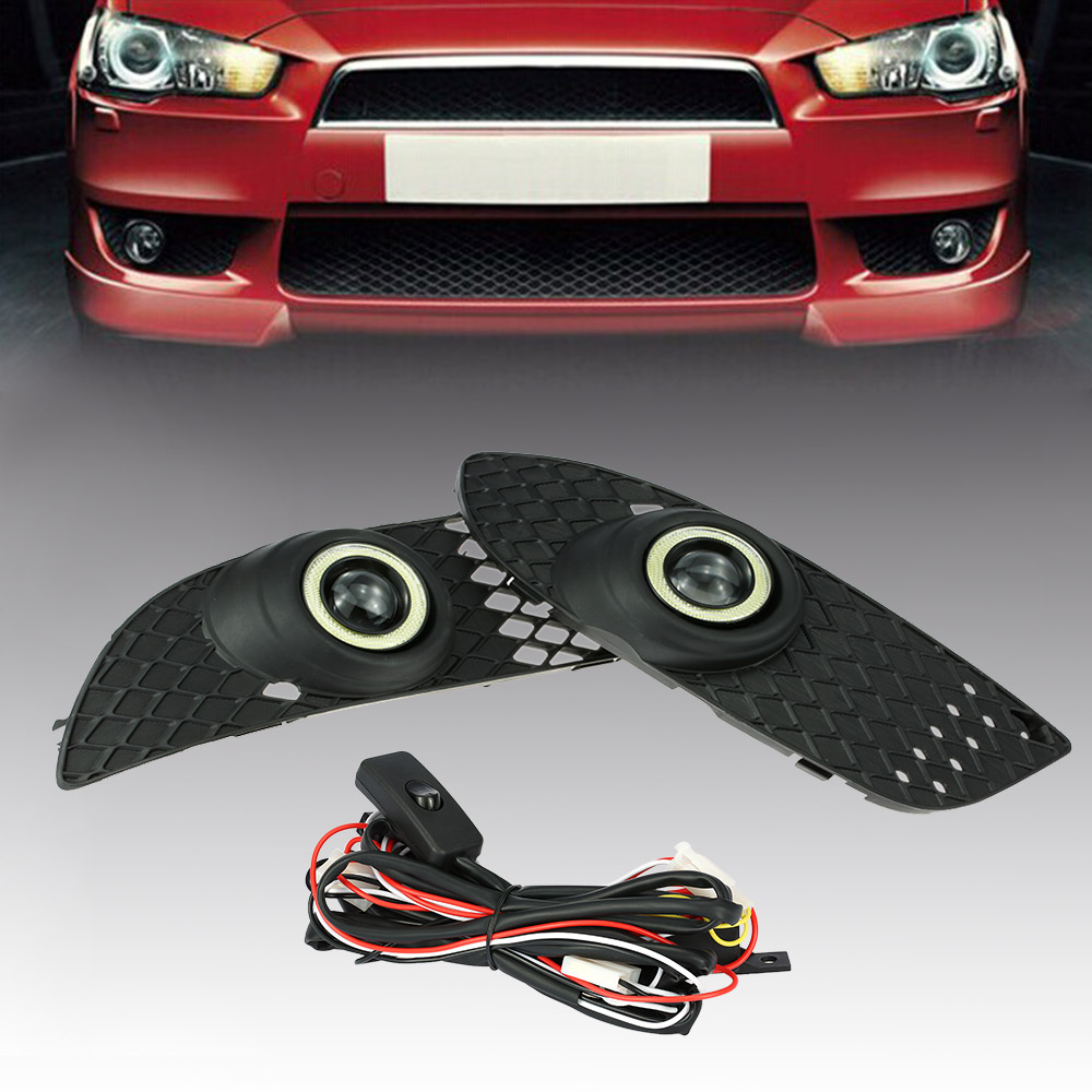 One Pair of Bumper Grille Fog Lights LED Lamp with Wiring Switch Kit for Mitsubishi Lanc ...