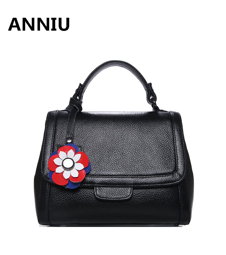 ANNIU Brand New Fashion 100% real genuine Leather woman bag female OL Lady designer handbag high quality flower shoulder bag