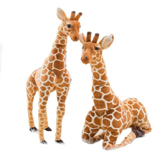 50-120cm Multi Size Hot Selling High Quality Realistic Stuffed African Grassland Wild Animal Soft Giraffe Plush Toys Kids Gifts