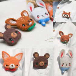 Brooch pin deer Doll Wool Felt Craft DIY Non Finished Poked Set Handcraft Kit for Needle Material Bag Pack Shiba Inu Set animals
