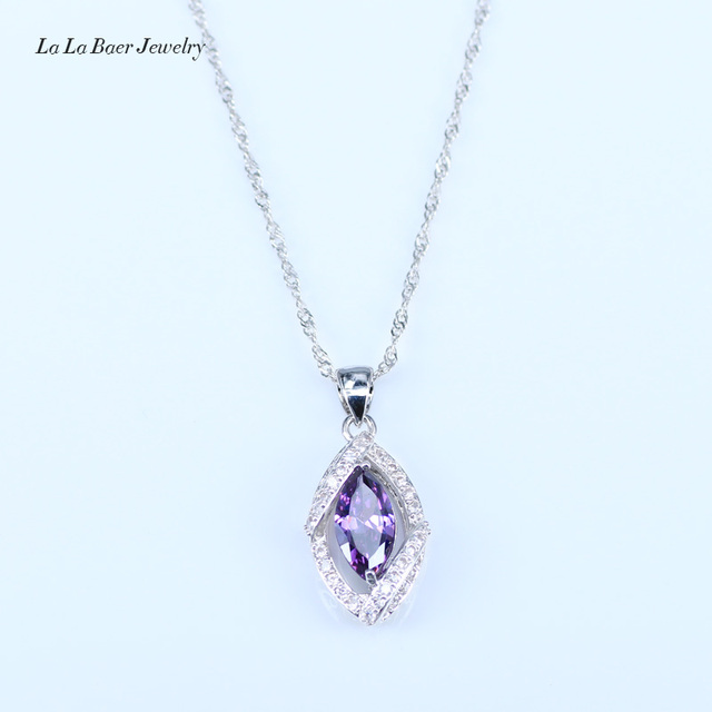L&B Best Birthday Gift CZ Elegant Design Austria Crystal Stone Purple 4 Piece 925 Sterling Silver Jewelry Sets For Women