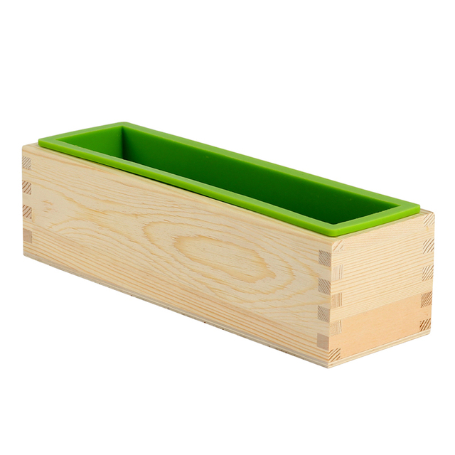 Molde Flexible Rectangular del molde del jabón de la barra de silicona con la caja de madera para la herramienta hecha a mano Natural del bricolaje